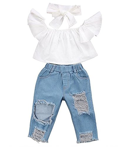 Kinderbekleidung,Honestyi Baby Off Schulter Crop Tops + Loch -