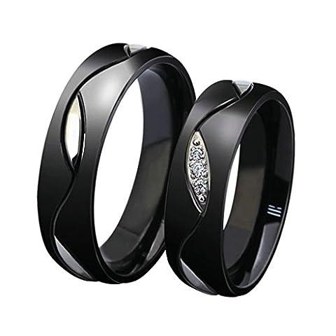 Beydodo Stainless Steel Rings (Wedding Bands) For Women Size N 1/2 Black