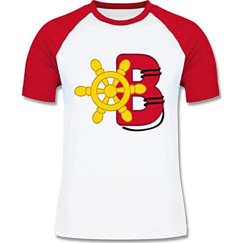 Anfangsbuchstaben - B Schifffahrt - zweifarbiges Baseballshirt für Männer Weiß/Rot
