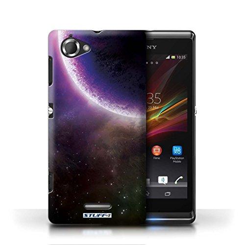 Kobalt® Imprimé Etui / Coque pour Sony Xperia L/C2105 / Éclipse Bleu conception / Série Cosmos Éclipse Pourpre