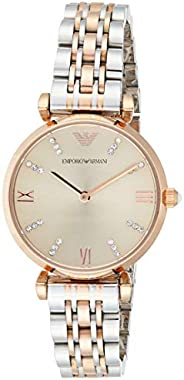 Emporio Armani Women's Ar1840 Retro Two Tone Watch, Silver Band, Analog Dis