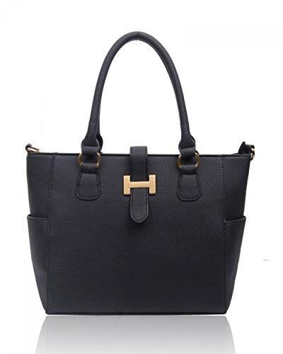 LeahWard Damen mode Tote Taschen Elegante Berühmtheits-Art Schultertasche Tasche Handtasche 14004 (Schwarz)