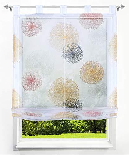 LiYa 1 Stück Raffrollo mit Feuerwerk Muster Floral Design Raffgardine Voile Transparent Vorhang (BxH 120x140cm, Orange) Orange Floral Muster