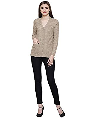 Matelco Women's Woollen Cardigan with Pockets for Winter