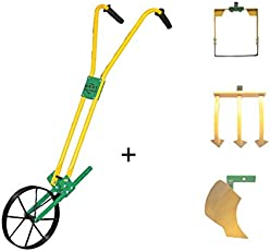 """Urvi Agrotech Manual Wheel Hoe with 8"""" Weeder + 3 Tooth Tine + Curvilinear Plough (HTWA101-8)"""
