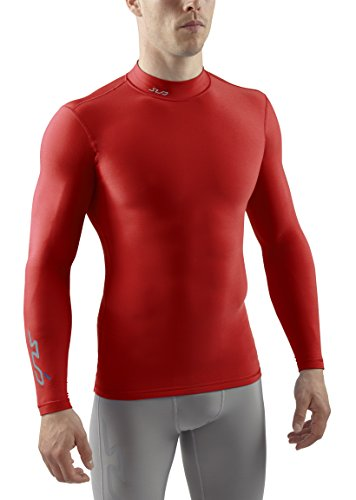 Sub Sports Herren Cold Kompressionsshirt Thermisch Funktionswäsche Base Layer langarm Mock Stehkragen Rot, M -