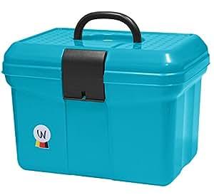 Amesbichler putz Box, intonaco scatola valigia con impugnatura, chiudibile a chiave, regolabile divisorio Grooming Box turchese
