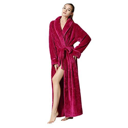 Pannnow pour femme et homme en flanelle Polaire Robe de chambre de luxe Robe Lounge Pyjama Long Peignoir de bain pour couple, flanelle, rose rouge, Women(L)