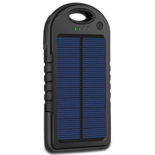 Solar Charger 5000mAh Tragbares Ladegerät wasserdichte Energienbank Wasserdicht 2 Ausgangsanschlüsse Akku mit LED-Licht,Black