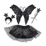 kaiser24 Mädchen Damen Schwarze Fee Kostüm 4tlg. Tutu Set Halloween