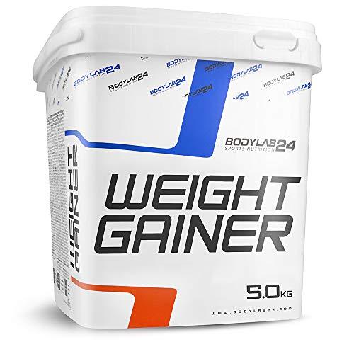 Bodylab24 Weight Gainer Erdbeere, ideales Verhältnis aus Kohlenhydraten und Eiweiß, über 1000kcal je Portion, 5 kg