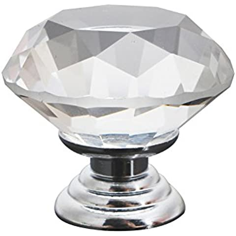 2x Diamante Vidrio Cristal Transparente 30mm Pomos Tiradores Perilla Puerta Cajón Armario