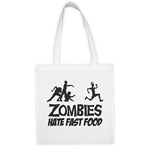 Zombies Hate Fast Food Black Fun Logo Wiederverwendbar Baumwolle Jutebeutel Langen Griff Stylische Geschenk Tüte