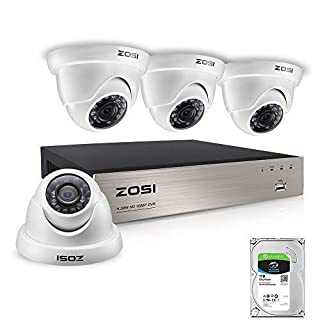 ZOSI 1080P Home Security CCTV Camera Systems w/1TB Hard Drive 4CH 1080P Remote Security Camera System (4) 2.0 MP 1920 * 1080P Outdoor Home Dome CCTV Security Cameras