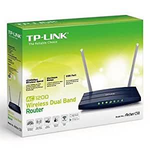 TP-LINK Archer C50 AC 1200 Wireless Dual Band Wi-Fi Router with 2 Antennas, USB Port 5GHz 867Mbps + 2.4GHz 300Mbps