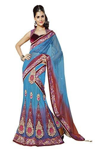Mahotsav Net Saree (3319_Blue)  available at amazon for Rs.2260