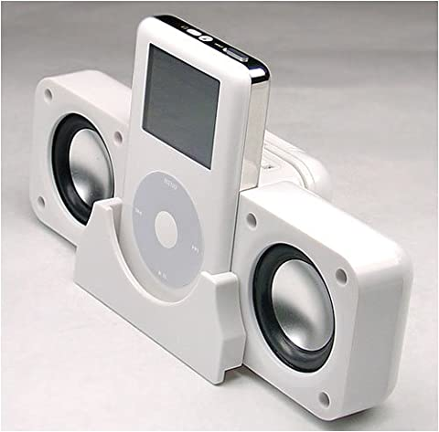 Official XVIDIA iPOD White Foldable Portable Speakers for all Apple Ipods inc. Nano, Video 30GB/60GB/80GB, Photo or