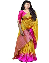 Harikrishnavilla Women's Bhagalpuri Silk Zari Border Saree With Blouse Piece - Pink Pallu- 2_Yellow And Pink_Free...
