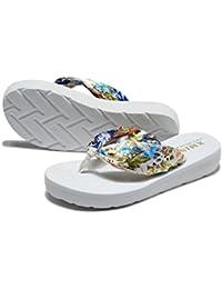 Hippolo Damen Sandalen Rutschfeste PVC-Druck Flip-Flops Männer Damen Strand Kinder Hausschuhe Startseite (40, Navy blau)