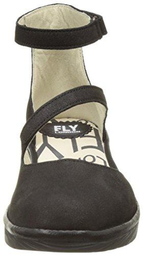 FLY London Plan717, Escarpins Femme Noir (Black/Black 002)