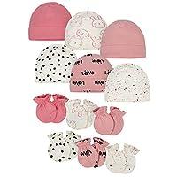 مجموعة من 12 قطعة من قبعة وقفاز الأطفال من قطعة واحدة Pink Bunny 0 - 6 اشهر