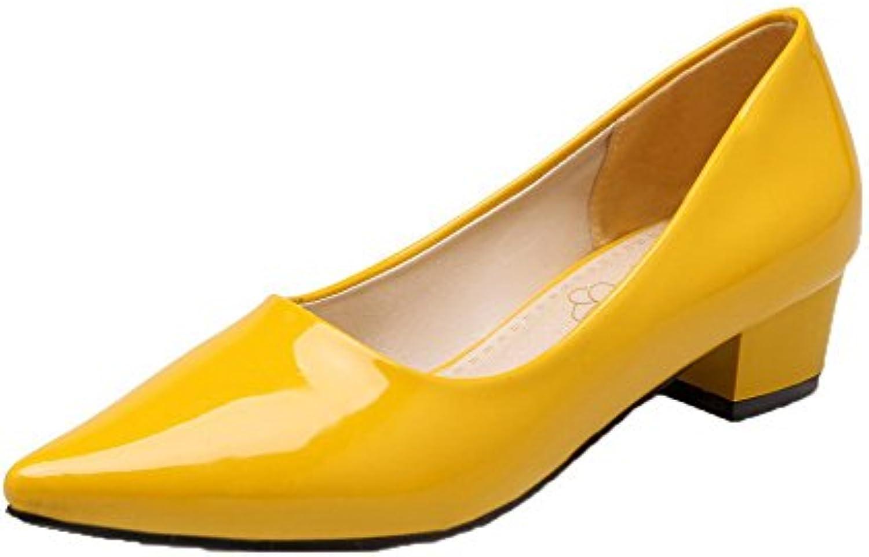VogueZone009 Mujeres Microfibra Tacón Bajo Puntera Cerrada Zapatos de Tacón