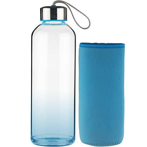 Fcsdetail sport bottiglia per acqua, bottiglia per acqua in vetro con tappo in neoprene con coperchio in acciaio inox 550 ml blue