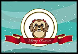 Carolines Treasures BB1559JMAT Chocolate Brown Shih Tzu Merry Christmas Indoor or Outdoor Mat, 24 x 36, Multicolor