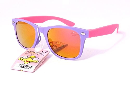Sonnenbrille 4567jahren Gläser Runde Gläser rund Polarisiert Jungen Mädchen 72173VH monture mauve branches rose verres orange largeur:120mm hauteur:40mm