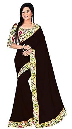 ChiragEnterprise Georgette Saree With Blouse Piece(Havda Black_Black Free Size)