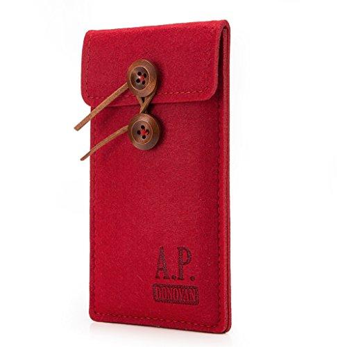 A.P. Donovan - Filz-Tasche Filzhülle - Schutzhülle - Handy-Socke aus Filz - Hülle Tasche aus Stoff Sleeve - Handy-Tasche - Rot, iPhone 5 / 5s