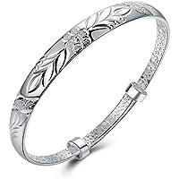 Nuovi monili d'argento semplici fiori braccialetto d'argento del braccialetto del polsino