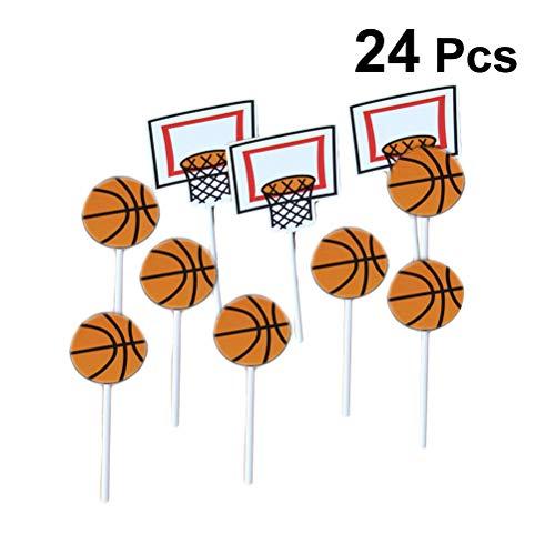 Amosfun 24 stücke Cartoon Basketball Muster Kuchen Topper Sport Party Cupcake Topper Picks Kinder Geburtstag Familie Party Dekoration Lieferungen