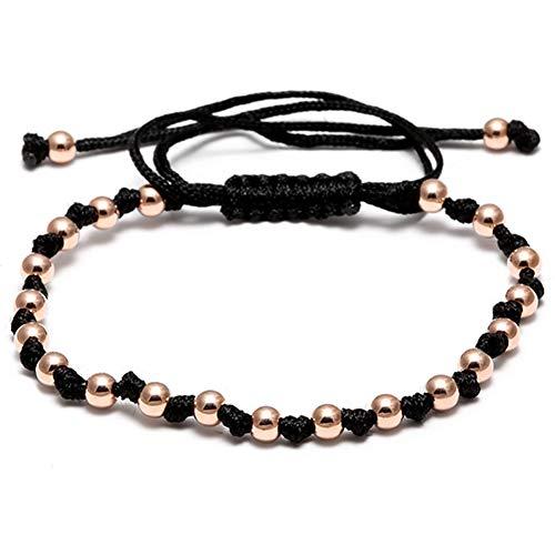 Imagen de tiantxs moda hecha a mano 4mm bolas de bolas trenzado de macramé con cordón de cordón pulsera con cuentas brazaletes de cuerda para hombres