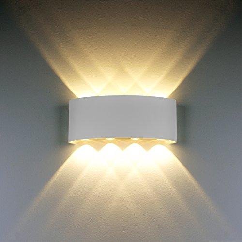 Wandleuchten Moderne IP65 Wasserdicht 8W LED Wandleuchte Innen Aluminium Wandbeleuchtung Oben Unten Dekorative Wandlampe für Wohnzimmer Schlafzimmer Halle Treppe Pathway (Warmes weißes Licht) (Perle Weiße Weiche,)