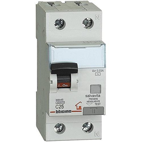BTicino GC8813AC25 BTDIN Interruttore Magnetotermico Differenziale 1P+N, 4.5 kA, Idn 0.03 A,...