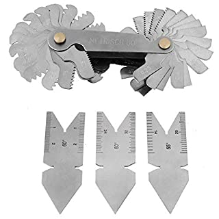 Stainless Steel Screw Thread Pitch Gauge of 52 Leaves + 3pcs 60°Center Gauges Tool Set Thread Plug Gage Measuring Tool Metric+ imperial