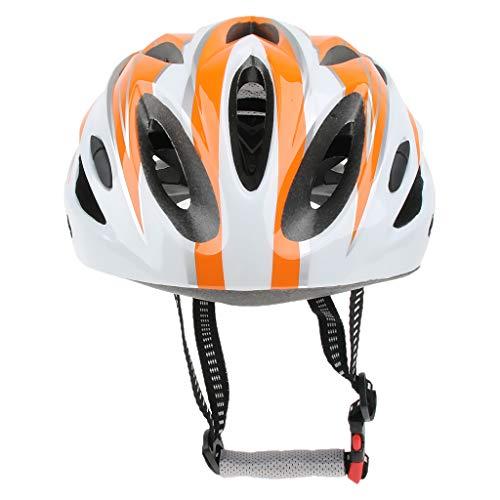 P PRETTYIA Skateboard Helm- Kinder Fahrradhelm mit Schnellverschluss und Verstellbarer Riemen für Kopfgröße: 52-62cm - Orange Weiß