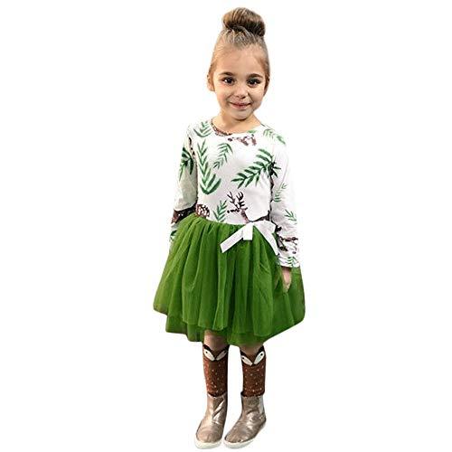 QinMM Mädchen Kleid Weihnachten Kostüm, Baby Langarm Fawn Print Kleid Weihnachten Outfits Kleidung für 12 Monate-5 ()