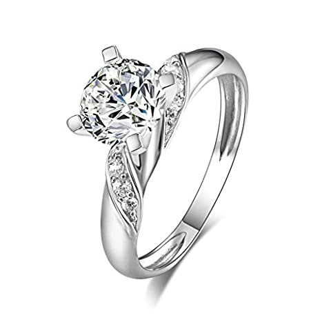 Daesar Sterling Silver Rings Womens Engagement Rings Custom Ring 4 Prong Cubic Zirconia Ring Size:R 1/2