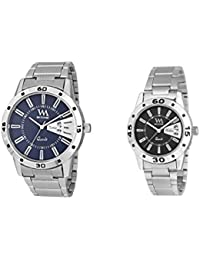 Watch Me Gift Combo Set Of Day And Date Couple Pair Gift Watch Set For 2 DDWM-008-BU-009-BK