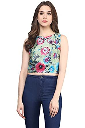 Miss Chase Women's Crop Top (MCAW15TP02-76_Multicolor-Mint_XL)