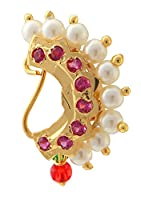 9blings Maharashtrian traditional cz pearl gold plated non piercing nath nr13