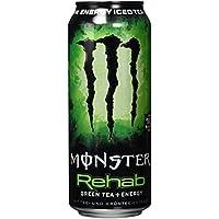 Monster Energy Flavour Rehab Green Tea mit Teeextrakten & tropischen Säften - ohne Kohlensäure, Energy Drink Palette mit Dosen, 2in1 Energie Getränk & Eistee, EINWEG (24 x 500ml)