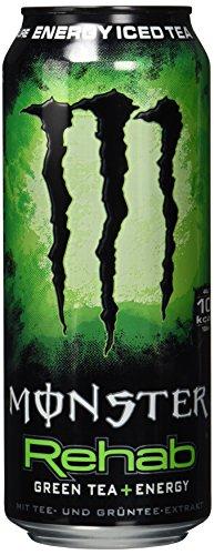 Monster Energy Rehab Green Tea mit Tee Extrakten & tropischen Säften - ohne Kohlensäure, 2in1 Energie Getränk & Eistee!, Energy Drink Palette, EINWEG Dose (24 x 500 ml), kurzes MHD