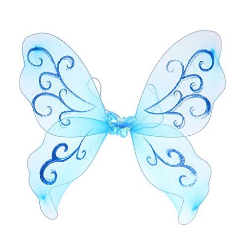 Homyl Mädchen Feenflügel Schmetterlingsflügel Elfenflügel Engelflügel Kostüm Accessoires zum Kindergeburtstag Themenparty und Fasching - Bule