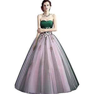 7157a1e48eca Sun Goddess Dress High-Grade Strapless Sleeveless Green Splicing Lace  Embroidery A-Line Floor
