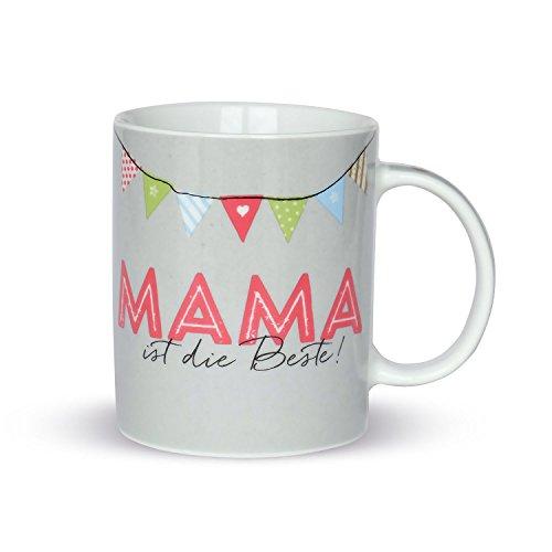 H:)PPYlife 44912 Tasse mit Motivdruck: 'Mama ist die Beste!', Porzellan, mehrfarbig, Geschenktasse