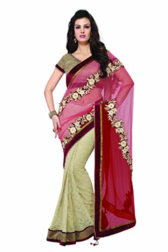 Mahotsav Women''s Multicolor Net & Jacquard Patch Border Work Partywear Saree With Blouse (9362_Multicolor)  available at amazon for Rs.2185