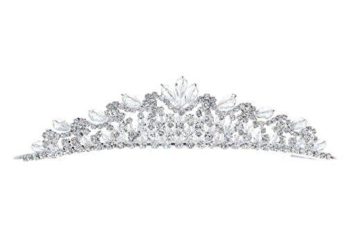 Venus Jewelry Tiara o corona brillante de boda de cristal de princesa para mujer Plateado